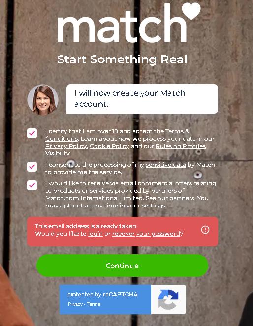 Find an email address on match.com