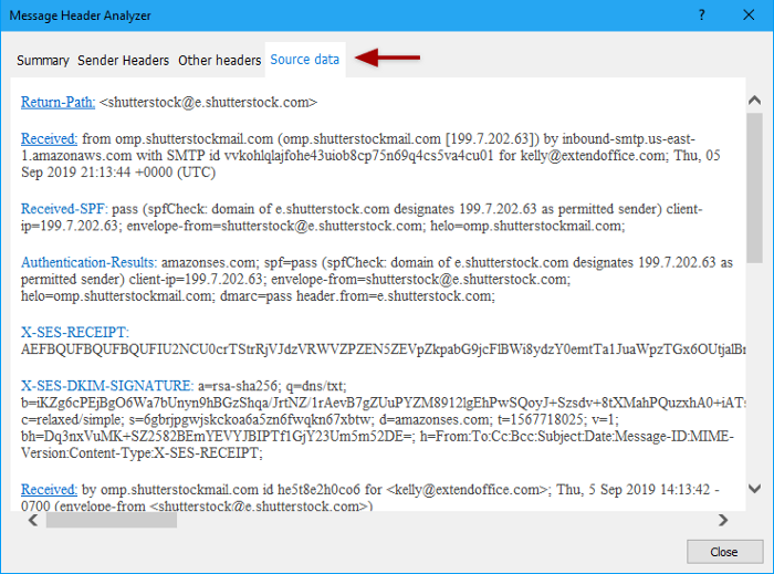 header of an email address to find the person behind the email address