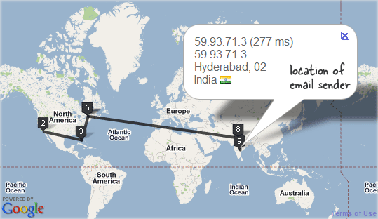 using traceroute to find someone behind an email address