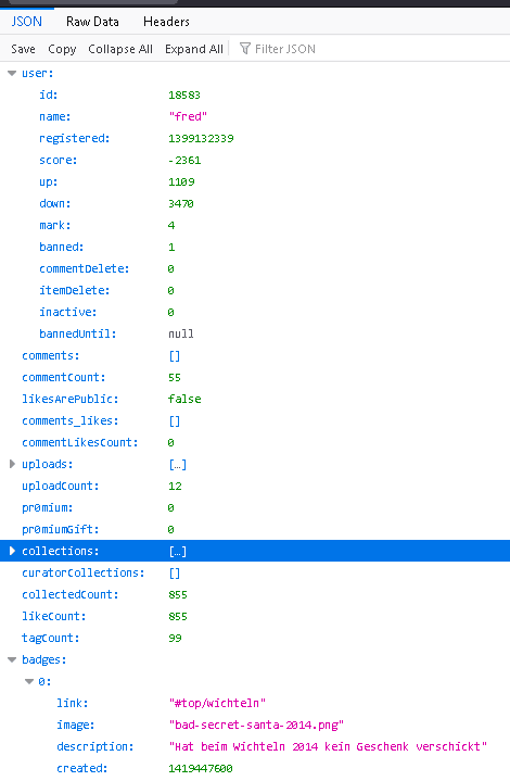 JSON data in structured format (easy to read)